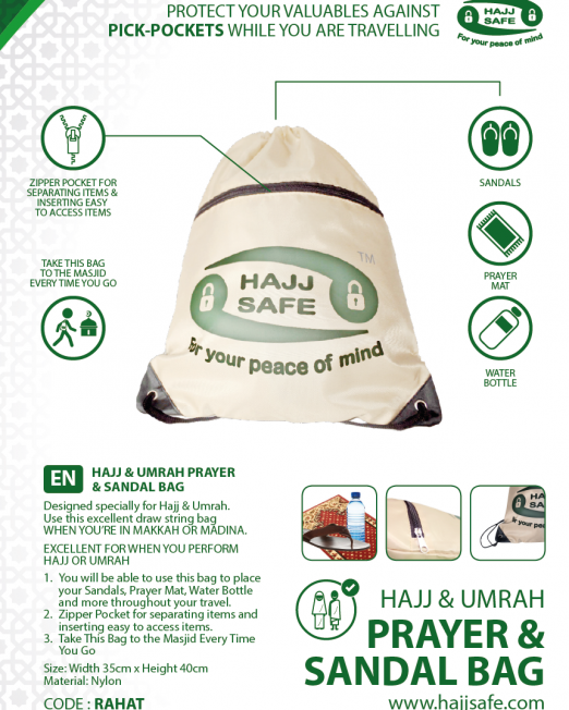 Shoe and Prayer Mat Bag for Hajj & Umrah by Hajj Safe CP1